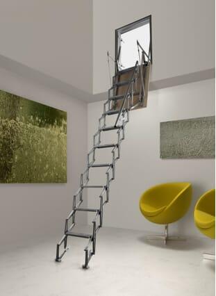 Fantozzi Alluminio Vertical Wall Access Concertina Loft Ladder