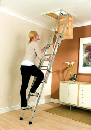Youngman Easiway 3 Section Aluminium Sliding Loft Ladder