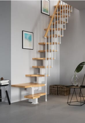 Gamia Mini Stair with Landing Tread Kit - Natural Beech treads + handrail