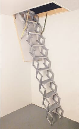 Columbus Junior Aluminium Concertina Loft Ladder (Trapdoor not supplied)