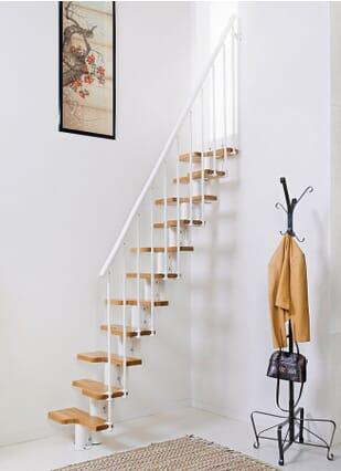 White metalwork & Oak treads + PVC handrail