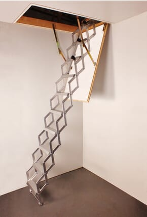 Piccolo Premium Loft Ladder fitted with Telescopic Handrail (Trapdoor not supplied)