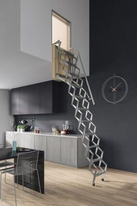 Premio Vertical Wall Steel Concertina Loft Ladder