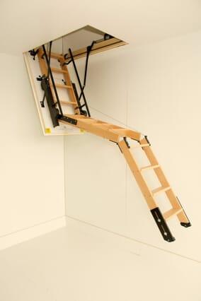 Skylark 3 Section Semi Automatic Timber Folding Loft Ladder