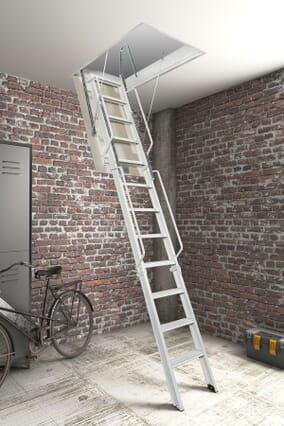 Fantozzi Tre 3 Section Steel Folding Loft Ladder